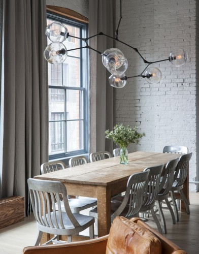 Dumbo-loft-Robertson-Pasanella-dining-table-Lindsey-Adelman-light-Remodelista